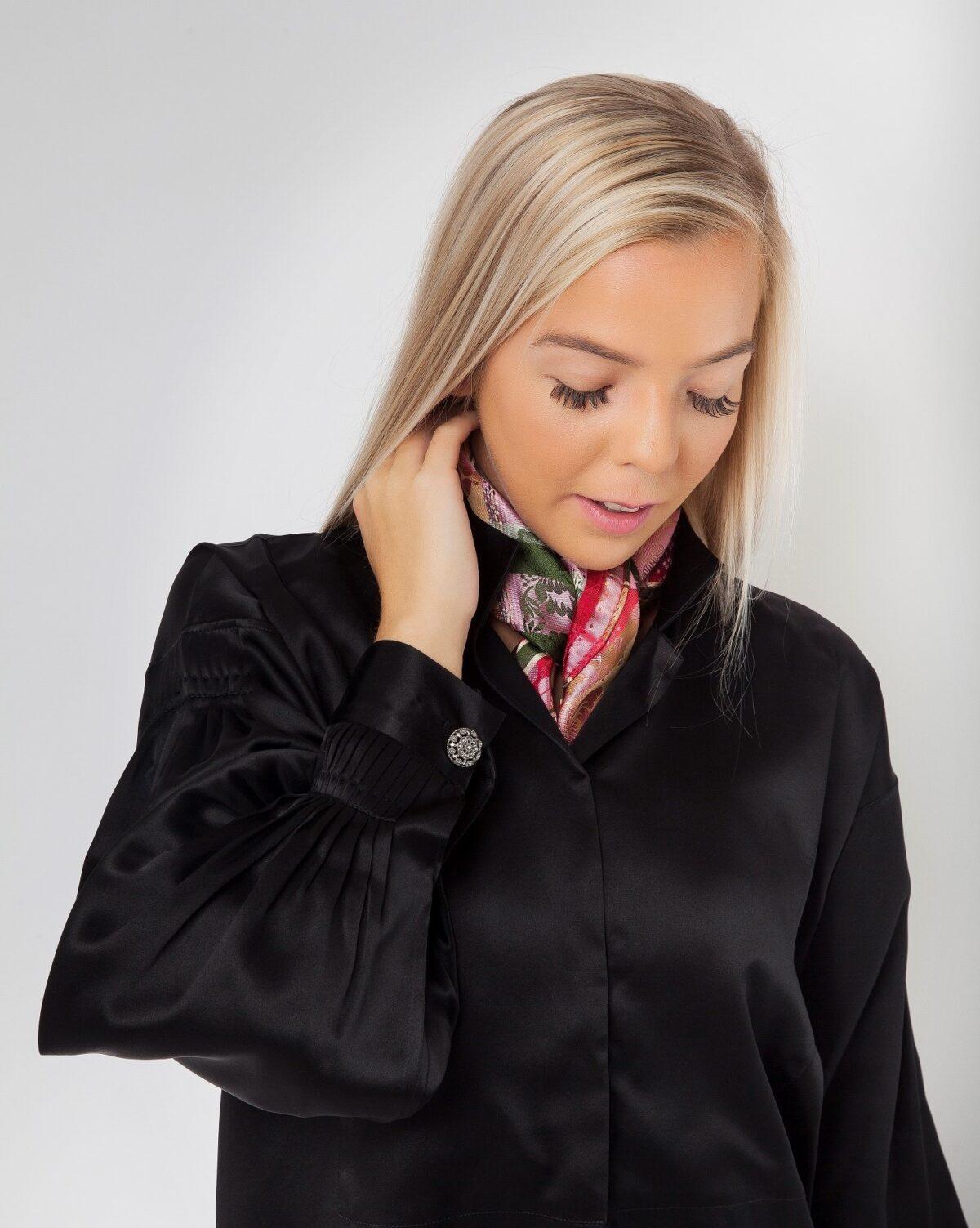 Silkeskjorte, sort-807
